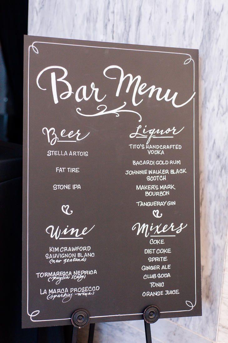 Elegant Chalkboard Bar Menu | Washington | Photo: Genesa Richards Photography | http://knot.ly/6495BILdb | http://knot.ly/6496BILdj