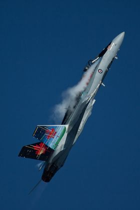 """""""CF-18 Hornet at Comox Air Show 17 Aug 2013 - Vapour Trails"""" (Submitted by Paul Ellard)"""