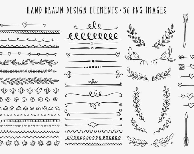 Hand Drawn Clip Art Commercial Use Clipart Dividers Borders Laurels Arrows Doodle How To Draw Hands Clip Art Clip Art Borders