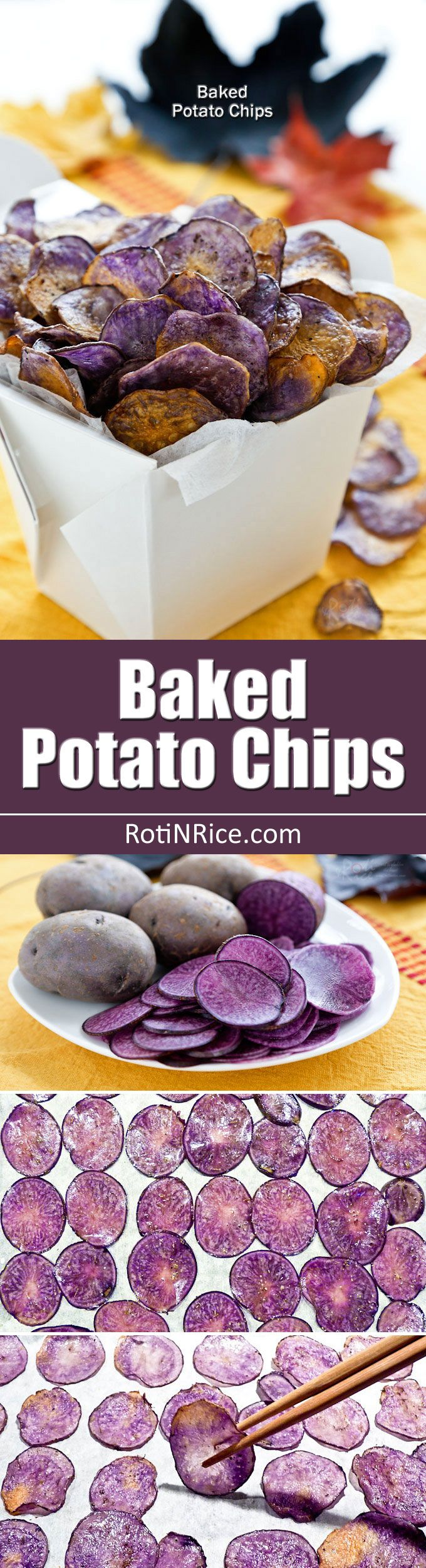 Homemade Baked Potato Chips flavored with salt, pepper, and thyme. Conventional potatoes may be used but Purple Majesty potatoes make these chips stunning! | RotiNRice.com