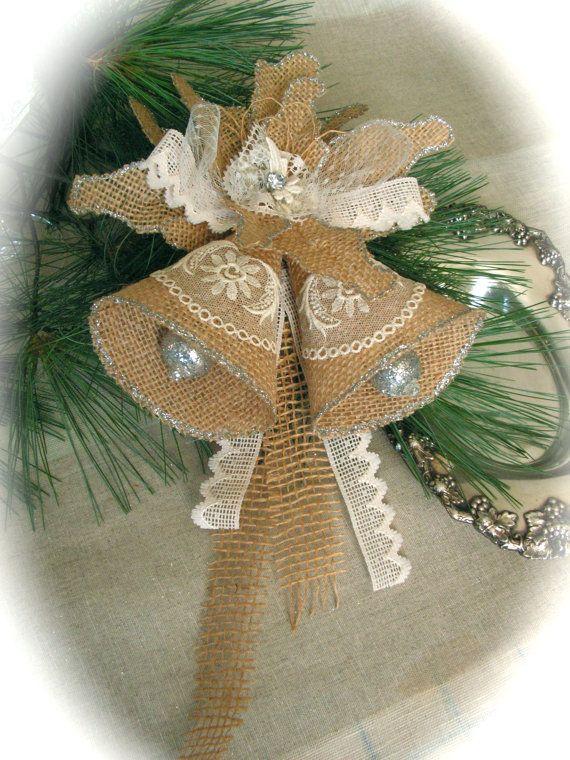 Christmas Bell Ornament Burlap Ornament. by Mydaisy2000 on Etsy