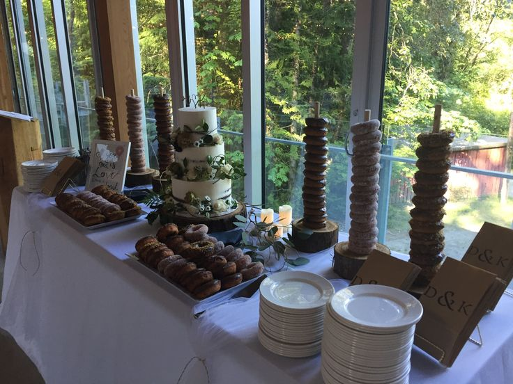 Wedding cake and donut towers from real Squamish, BC wedding. #createweddingsandevents #vancouverweddings