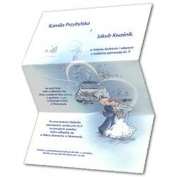 An invitation made from the highest quality paper in blue and cream. A bride and groom are printed on the invitation. Delicate gilding and embossing form additional decorations of the invitation. A cream envelope is included in the invitation set.
