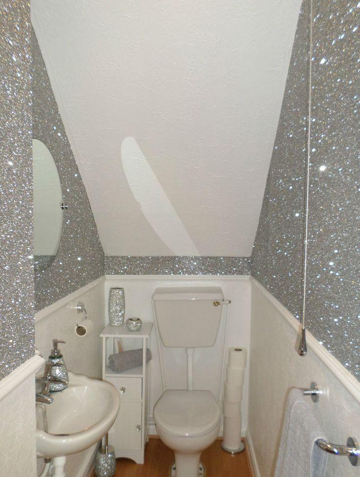 Best Large Chunky Glitter Flake Fabric Wallpaper Black Gold 400 x 300
