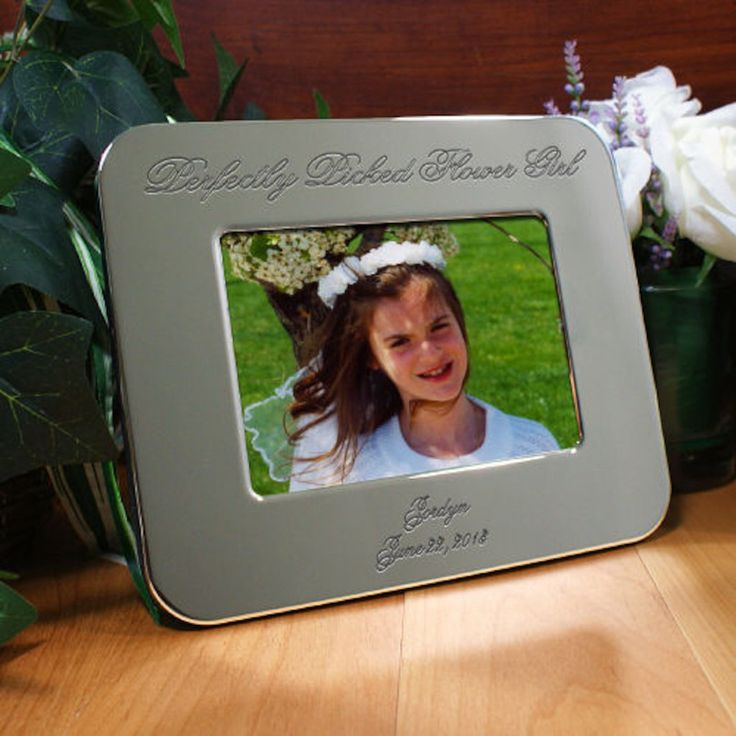 Personalized Engraved Flower Girl Silver Picture Frame - Gifts Happen Here