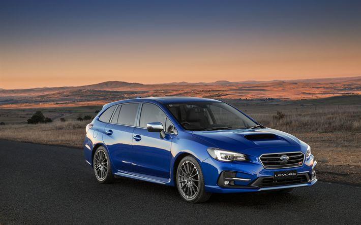 Télécharger fonds d'écran 4k, Subaru Levorg, désert, 2018 voitures, bleu Levorg, les voitures japonaises, Subaru