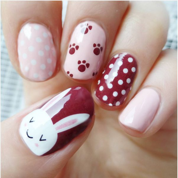 Cute bunny pink nails