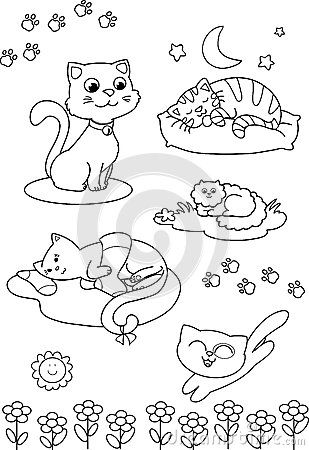 Cute cartoon cats: coloring page