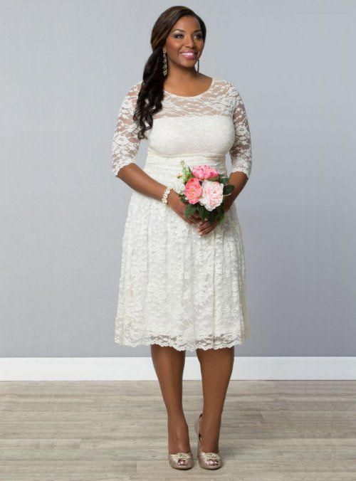 7 Gorgeous Short Plus Size Summer Wedding Dresses: Beautifully simple short lace plus size summer wedding dress with three quarter sleeves