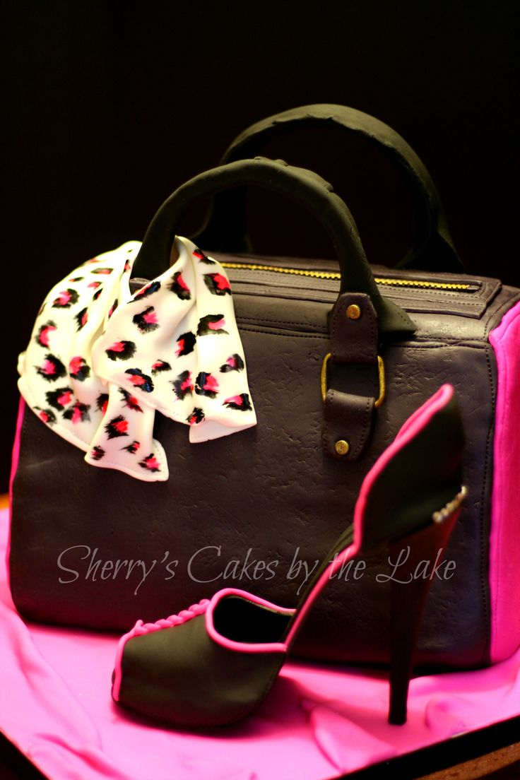 Purse cake with gum paste high heel shoe www.sharonlewis0522.wix.com/cakesbythelake