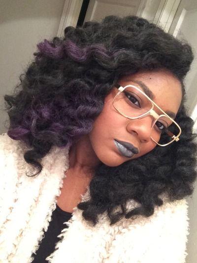 crochet braids w/ marley hair + purple highlights | http://crochetbraidsaddict.tumblr.com/