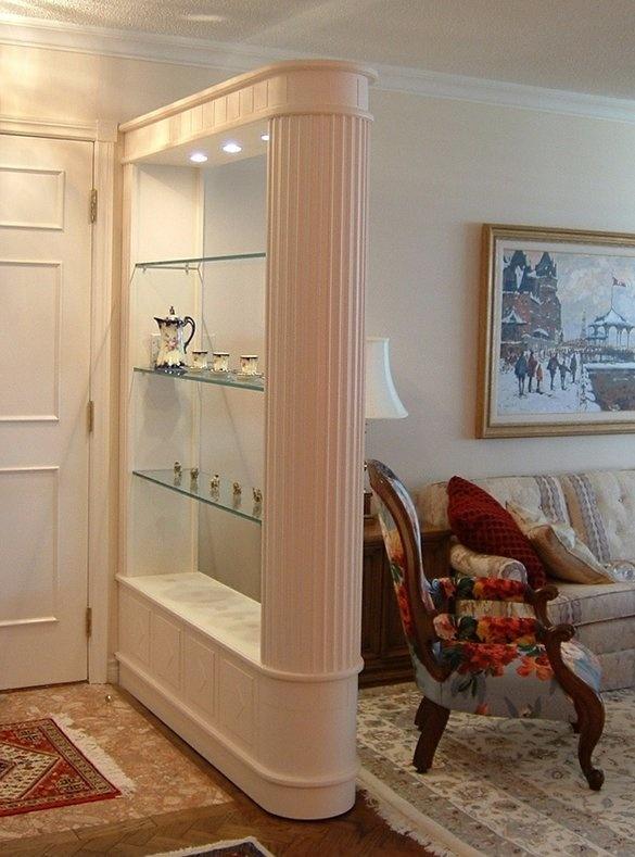 Inspiring Homemade Room Divider Ideas : Contemporary Room Divider With  Glass Shelves And Spot Lights