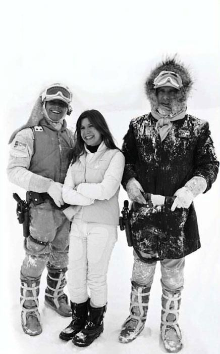 Mark Hamill, Carrie Fisher, and Harrison Ford on the set of Star Wars Empire Strikes Back