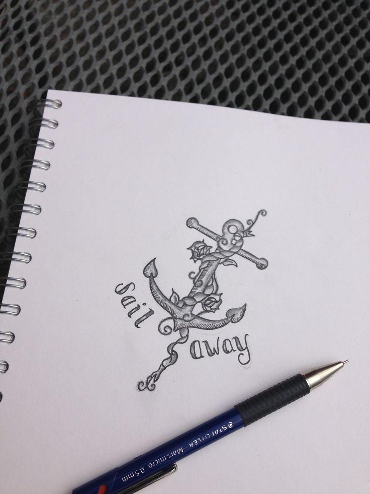 Sail away, nautical tattoo design, shading, anchor, by Yasmin Stopford.