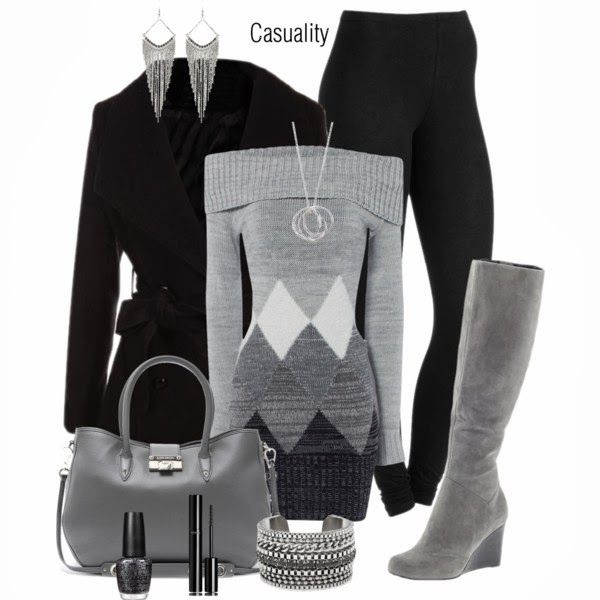 Winter OutfitFashion, Grey Sweater, Style, Sweaters Dresses, Clothing, Winter Outfit, Gray, Boots, Black