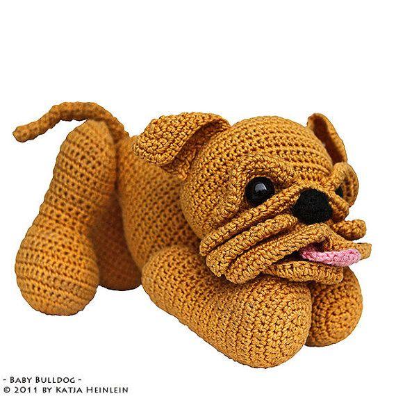 Free Pattern For Crochet Bulldog : Baby Bulldog puppy pdf tutorial by Katja Heinlein crochet ...