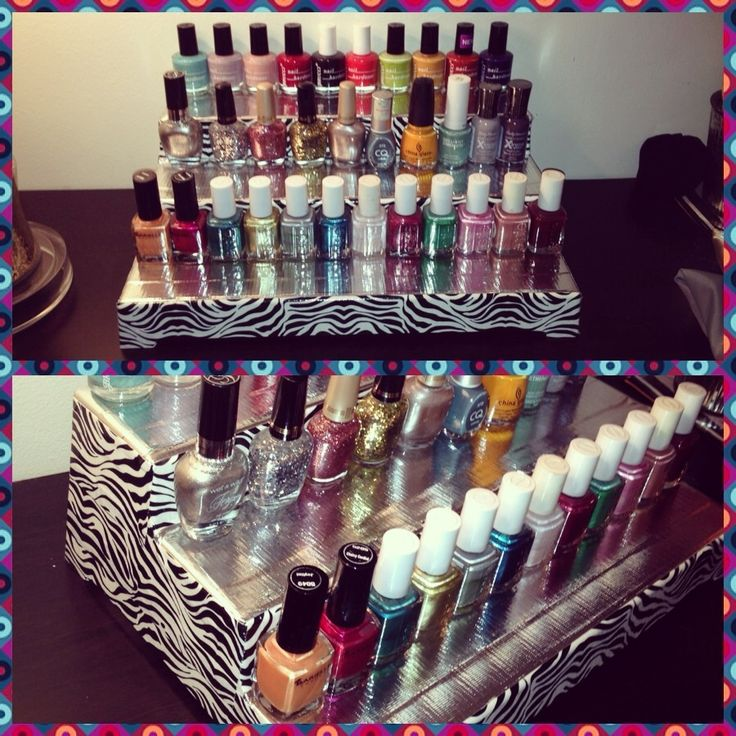 DIY expandable nail polish stand - Start by buying a 3-tier expandable shelf from Target ($15.00) and your choice of fashion duck tape from Target ($4-$5).  I chose silver and zebra.  Cover the sides and the steps of the shelf with your desired pattern, and Wahlah! you have your very own personalized nail polish stand.  It expands to hold about 120 nail polishes.