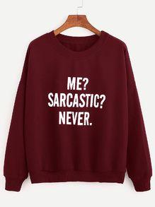 Burgundy Drop Shoulder Letters Print Sweatshirt