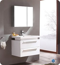 "31.5"" Fresca Medio (FVN8080WH) White Modern Bathroom Vanity w/ Medicine Cabinet #Fresca #HomeRemodel #BathroomRemodel #BlondyBathHome #BathroomVanity"