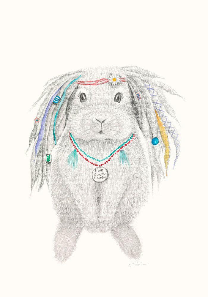 Emerald the Bunny Bohemian Hippy Animal Print by Daisychainpress