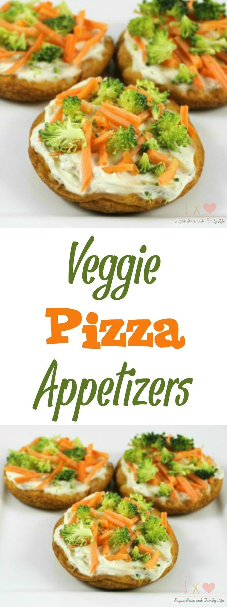 Veggie Pizza Appetizers make a great snack or party food. They have a crescent roll crust with ranch cream cheese spread and topped with vegetables like broccoli and carrots. - Veggie Pizza Appetizers Recipe on Sugar, Spice and Family Life