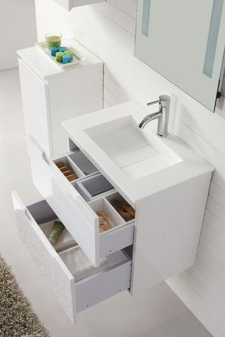'Aspen' 600 Wall Hung White Vanity with Soft Closing Drawers - Contemporary Vanities For Modern Bathrooms by Nova Deko | AUD 629.00