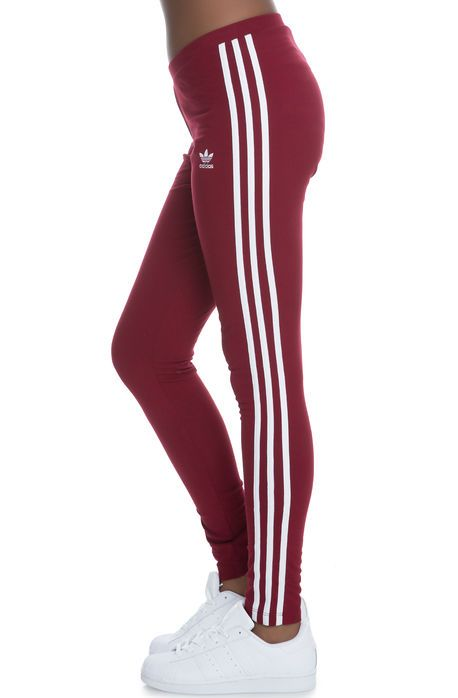 Adidas Leggings 3 Stripe Leggings Burgundy Red Leggings Are Not Pants Burgundy Leggings Striped Leggings