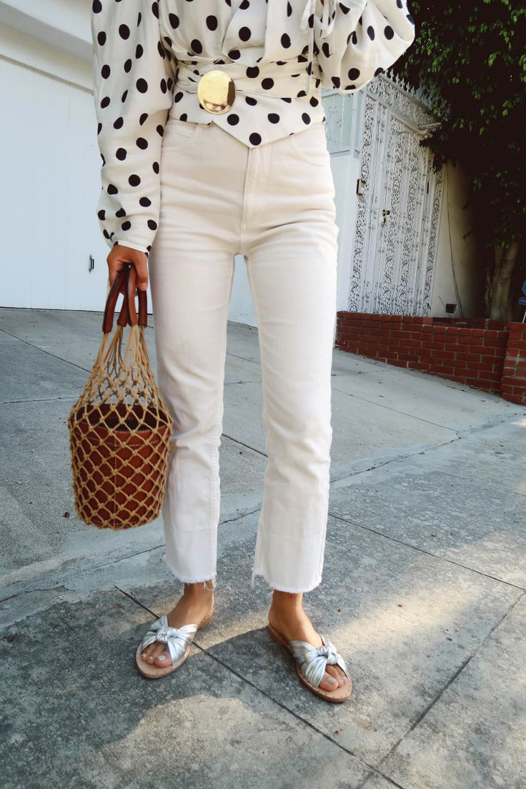 aimee song of song of style wearing a polka dot top