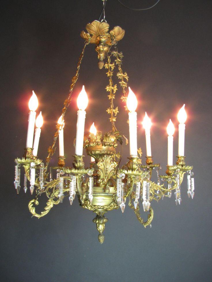 Lampadario in ottone dorato della prima metà del'Ottocento