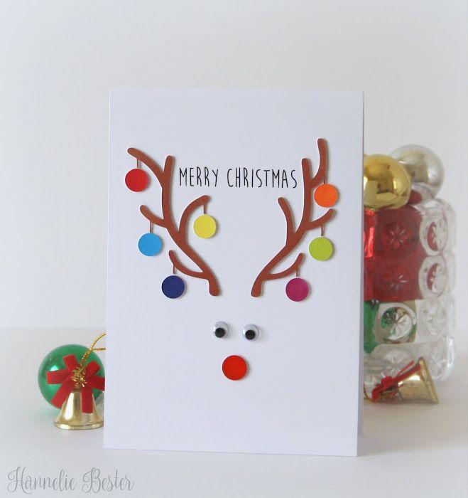 Merry Christmas card by Hannelie Bester #christmascard #rudolph #christmas #handmadecard