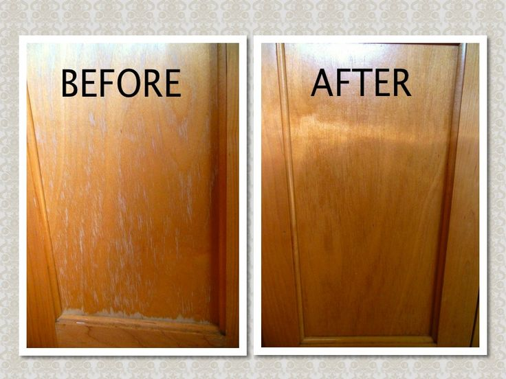 Ta-da! What a big difference! Are your kitchen cabinets looking like my 'before pic'? If so, here is an easy & quick fix - Mix 3/4 cup canola oil & 1/4 cup apple cider vinegar in a jar and shake well. Rub the oil mixture onto the cabinets w/a rag (I used an old T-shirt), then wipe with another clean rag!