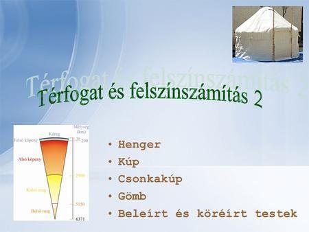 Henger Kúp Csonkakúp Gömb Beleírt és köréírt testek.