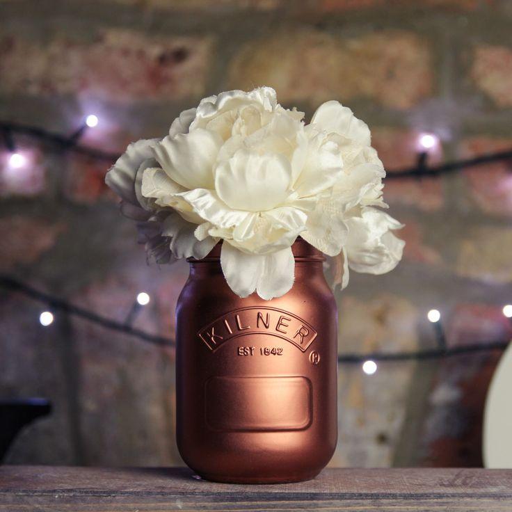 Copper Painted Kilner Mason Jar UK | Wedding Decoration / Table Centrepiece, Vase, Makeup Brush Holder, Pen Pot by WedlockShopUK on Etsy https://www.etsy.com/listing/235214592/copper-painted-kilner-mason-jar-uk