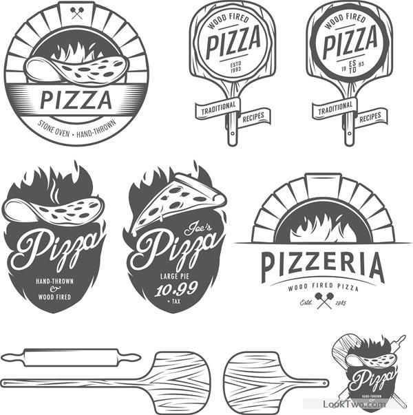 Vintage pizza logos design vectors free vector download