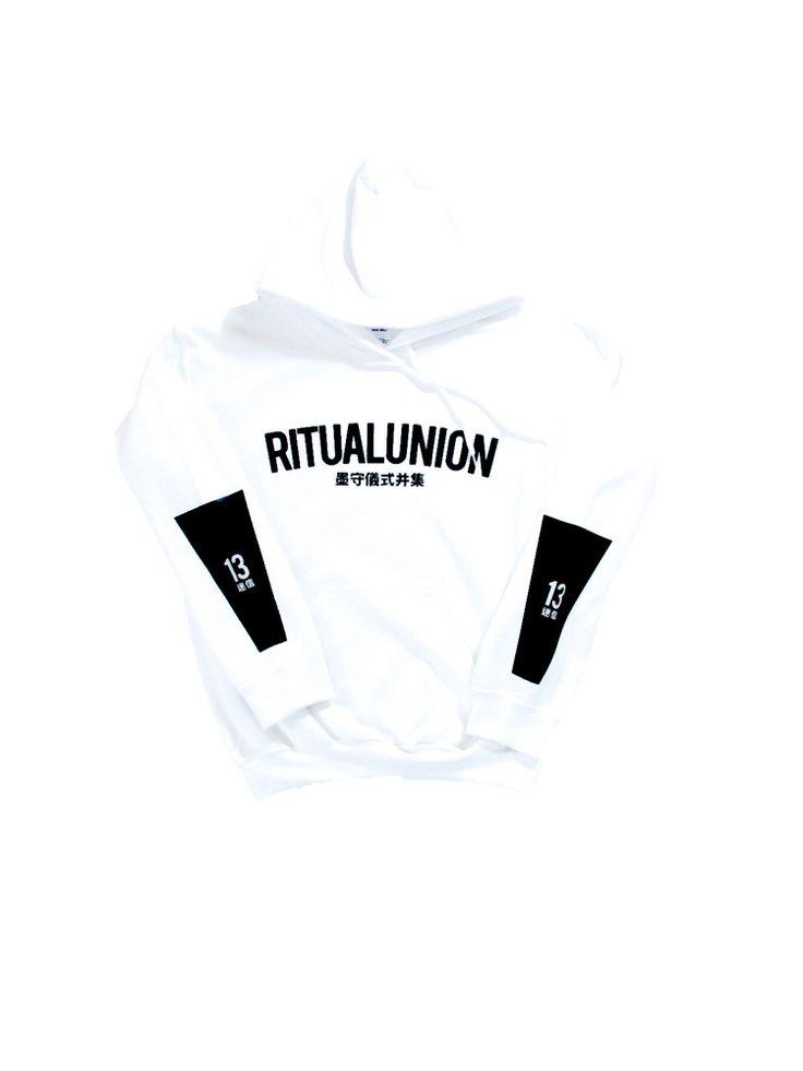 Ritual Union White Curve Hoodie #streetwear #streetwearfashion #street #streetstyle #veryrare #menswear #supremenyc #pigalle #outfitoftheday #pyrex #pyrexvision #beentrill #givenchy #supreme #balmain #hba #hoodbyair #rhude #hypebeast #outfitgrid #ktz #kanyewest #yeezy #yeezus #asaprocky  #blackfashion #givenchy #mensfashion #highsnobiety