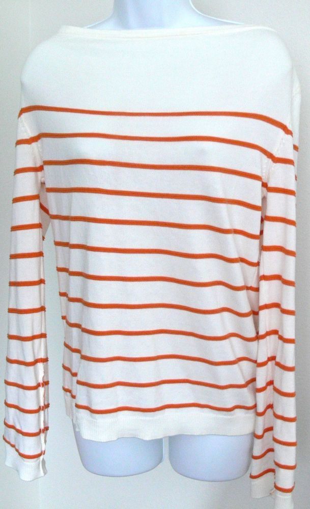 Massimo Dutti Extra Fine Cotton Striped Sweater Roll up Sleeves S Made in Spain #MassimoDutti #BoatNeck #casual