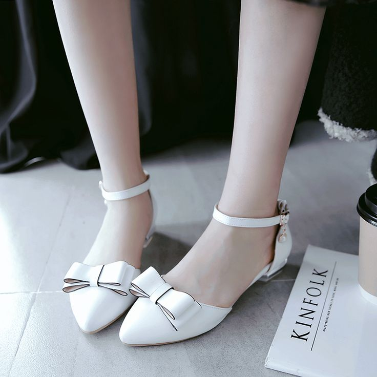 ==> [Free Shipping] Buy Best Summer Spring Sweet Style BowKnot Ankle Straps Flats Sandals Shoes Sexy Ladies Pointed Toe Handmade Leather Party Wedding Shoes Online with LOWEST Price | 32791334328