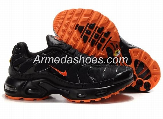 Nike Air Max TN Running Shoes Black Leather Orange On Sale Online.