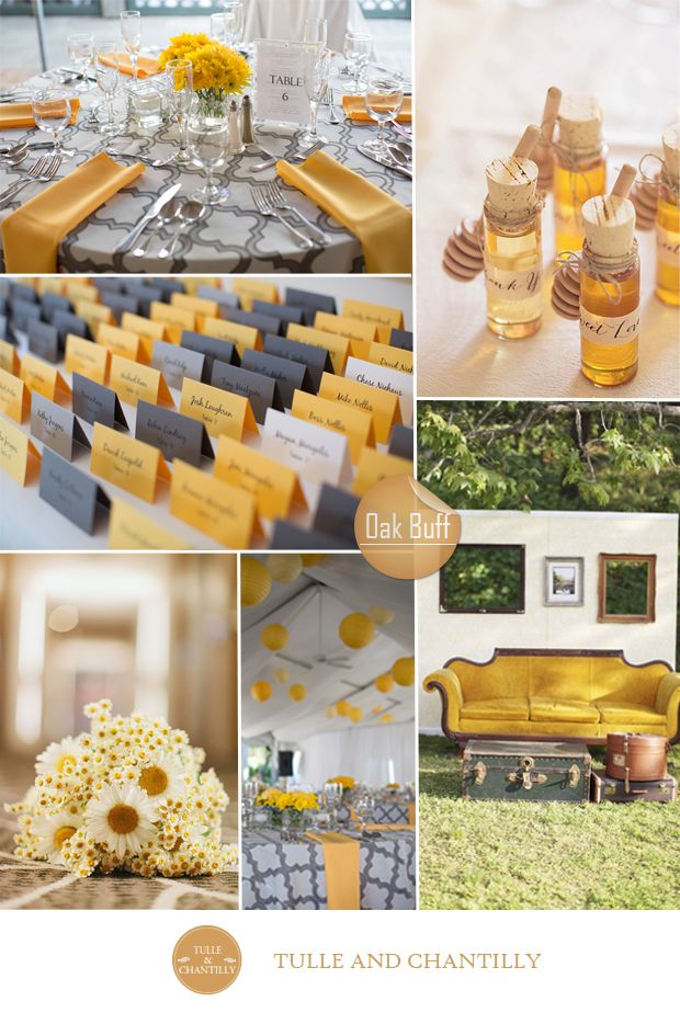 fall wedding colors 2015 - pantone oak buff inspired yellow and grey fall wedding color palette