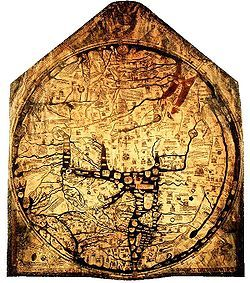 Hereford Mappa mundi is one of the largest medieval maps at over 5 feet high by 4 feet wide.  Hereford Cathedral c.1300.