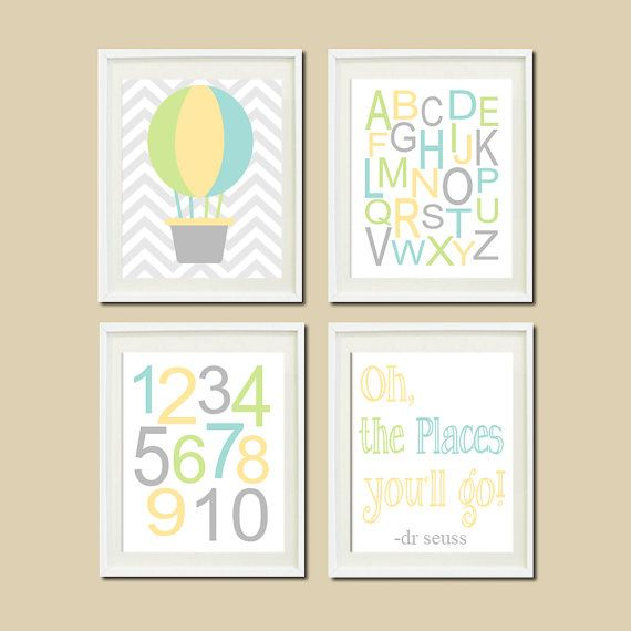 Hot Air Balloon Nursery Decor Oh The Places You'll GO Quote Baby Boy Wall ART Chevron Alphabet Numbers Set of 4 Prints Dr Seuss Nursery on Etsy, $37.00