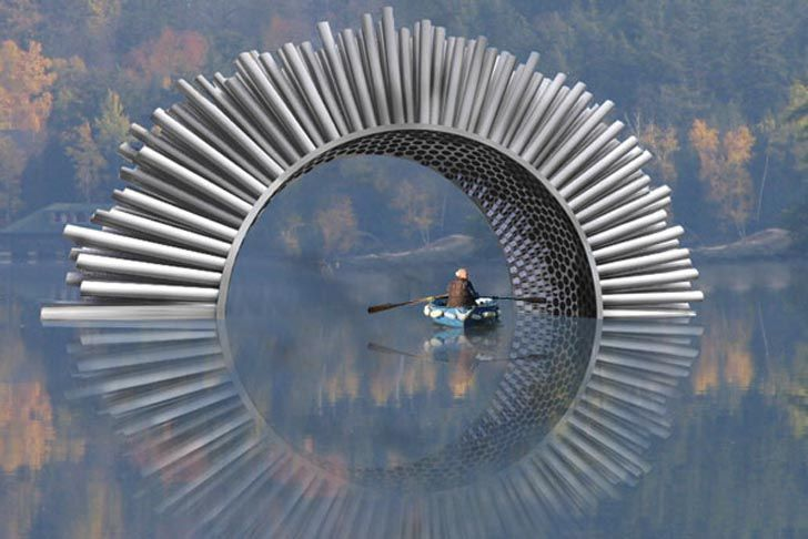 Installed at London's Canary Warf, Aeolus Acoustic Wind Pavilion is a giant sculpture designed by Luke Jerram that makes wind audible.