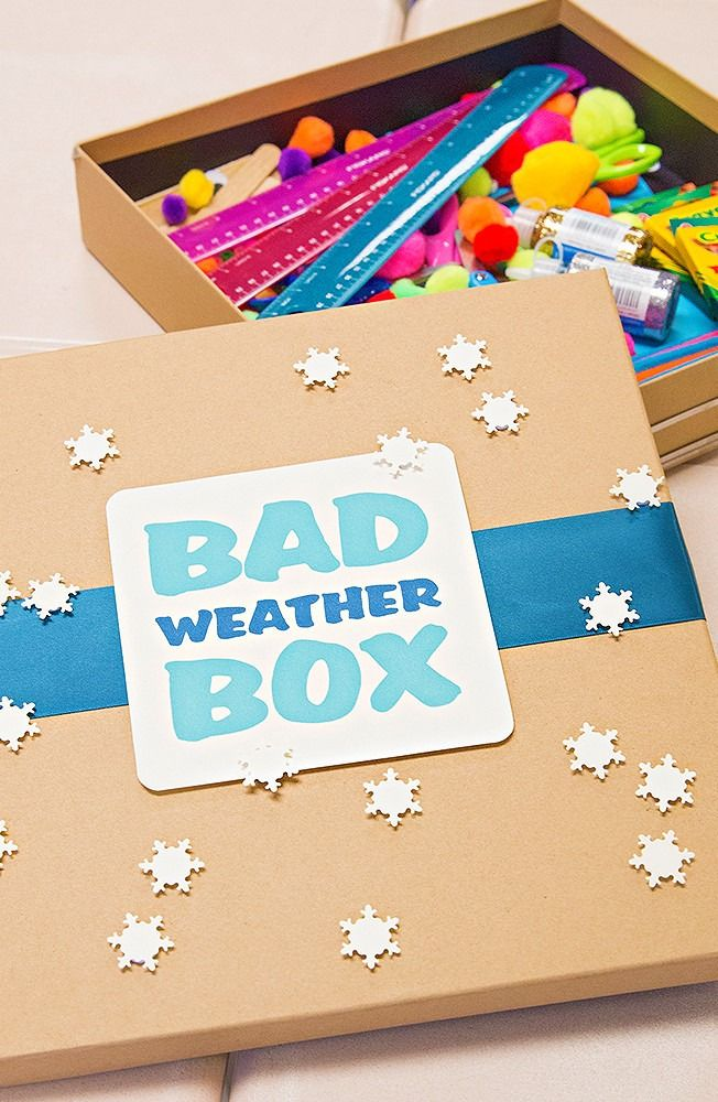 Make a Bad Weather Box for indoor fun! When the weather is too harsh to go outside, the Bad Weather Box is full of activities for kids that are low-cost and take 30 minutes or less. Click in to learn how to make your own.