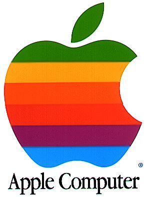 The second Apple Computer logo, as created in 1976-77 with the rainbow color theme, used by Apple until 1998.