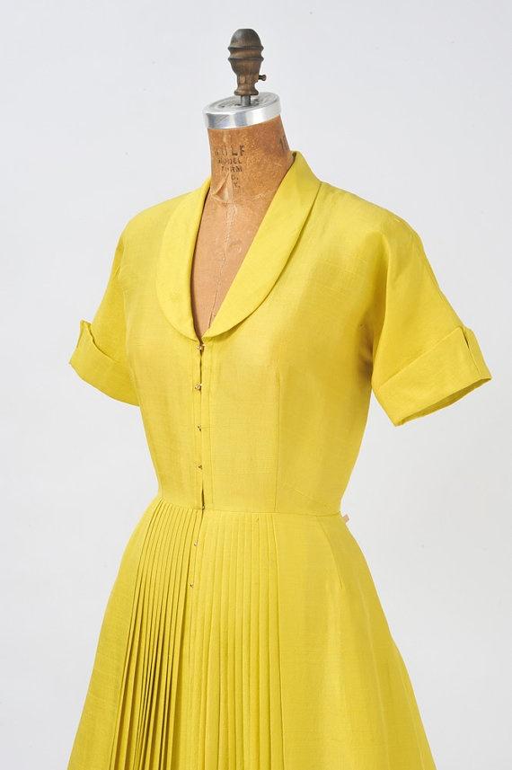 1950's Silk Chartreuse Dress by missfarfalla on Etsy, $85.00