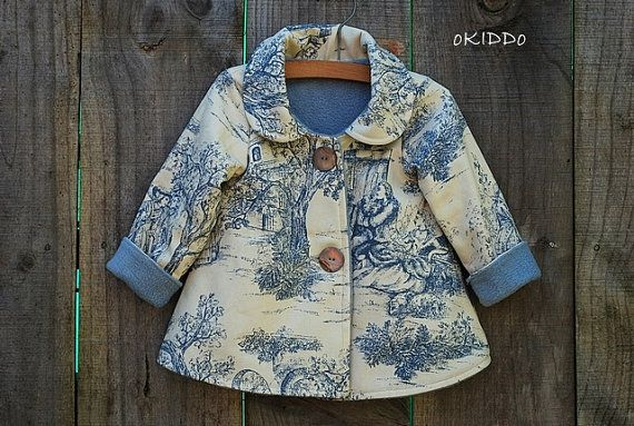 Baby Girl's Winter Swing Coat Jacket in Cream and Blue with Vintage Retro Print