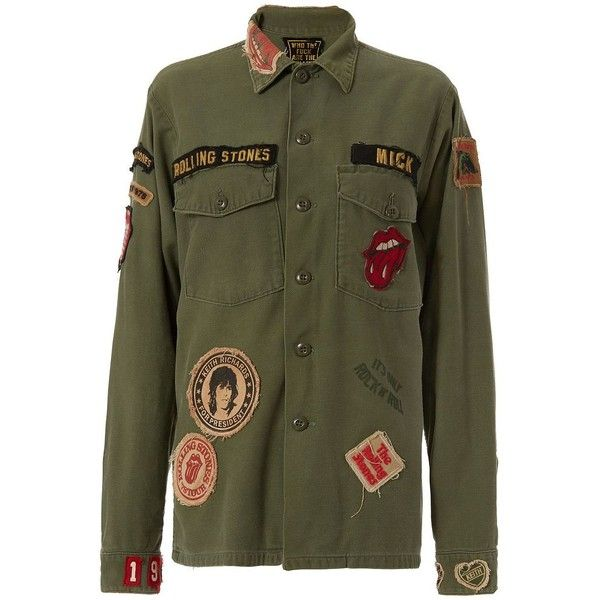 Madeworn Rolling Stones Patch Army Jacket (1,690 SAR) ❤ liked on Polyvore featuring outerwear, jackets, army jacket, embellished jacket, military cargo jacket, field jacket and long green jacket