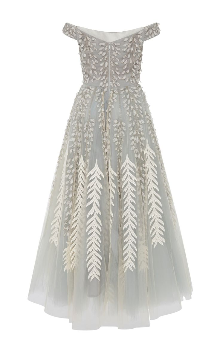 Tulle Embroidered Off The Shoulder Dress by Bibhu | Moda Operandi