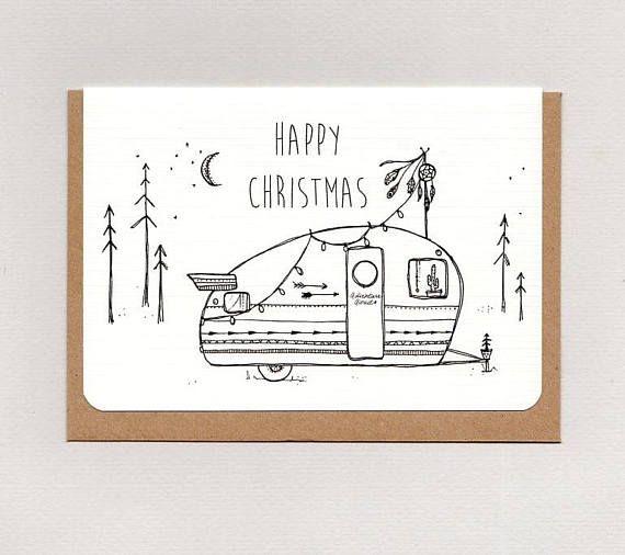 HAPPY CHRISTMAS . mini print . art card . greeting card .