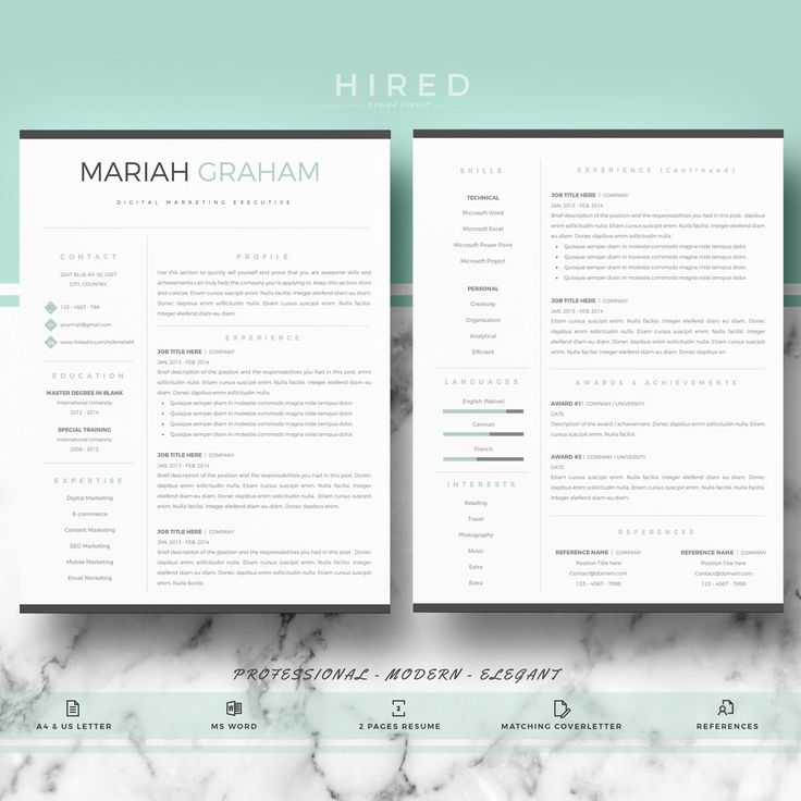 professional resume template resume template for word cv template cover letter references resume writing guide instant download